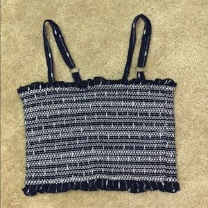 Forever 21 Bandeau Tank Tube Top, Navy and White